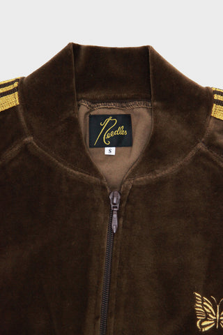 Rib Collar Velour Track Jacket - Brown