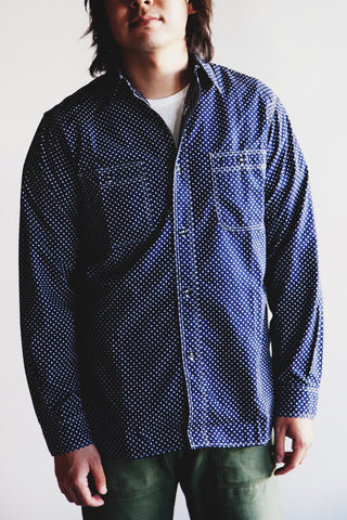 orslow Work Shirt - Navy Polka Dot