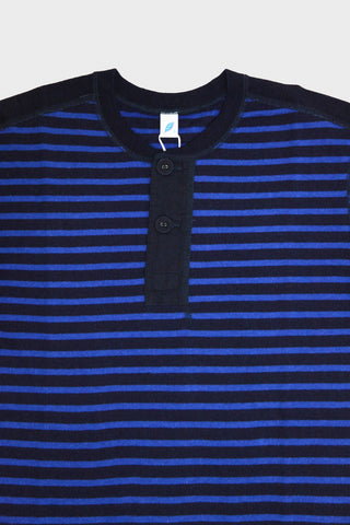 pure blue japan Hemp Blend Henley Long Sleeve T-shirt - Indigo Stripe