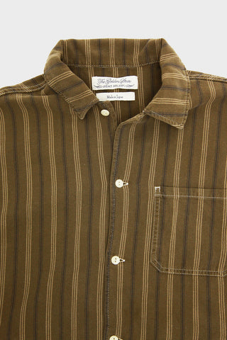Remi Relief Striped Wide Shirt - Brown