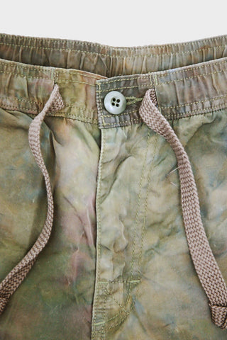 Uneven Dyed Easy Shorts - Khaki