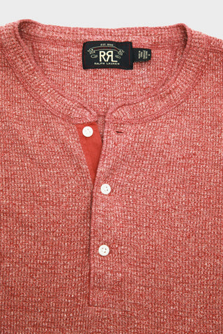 Double R L long sleeve henley in red siro heather.