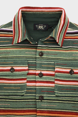 rrl ralph lauren Cotton-Linen Workshirt Sweater - Sage Multi