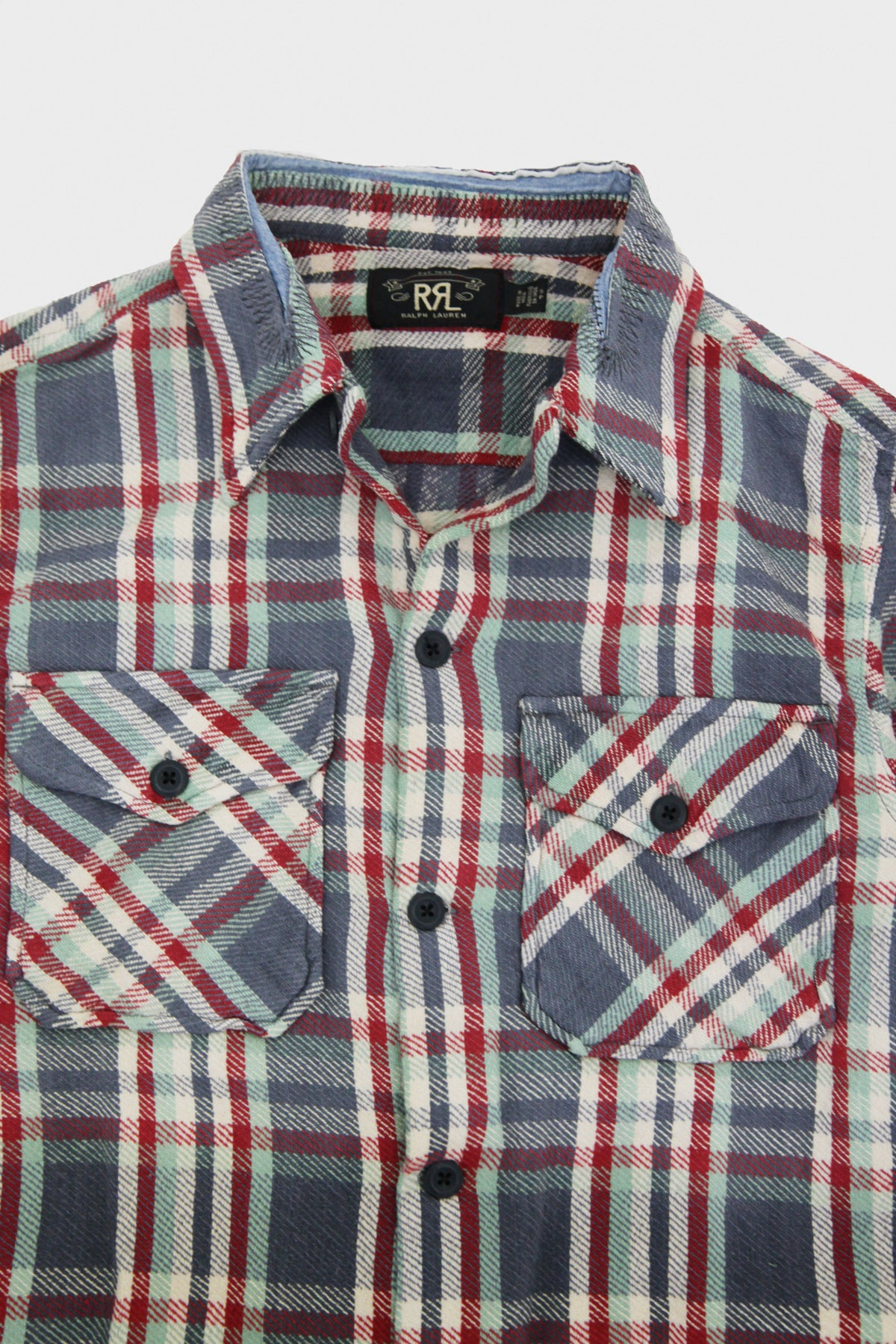 RRL - Distressed Plaid Twill Overshirt - Blue Multi - Canoe Club