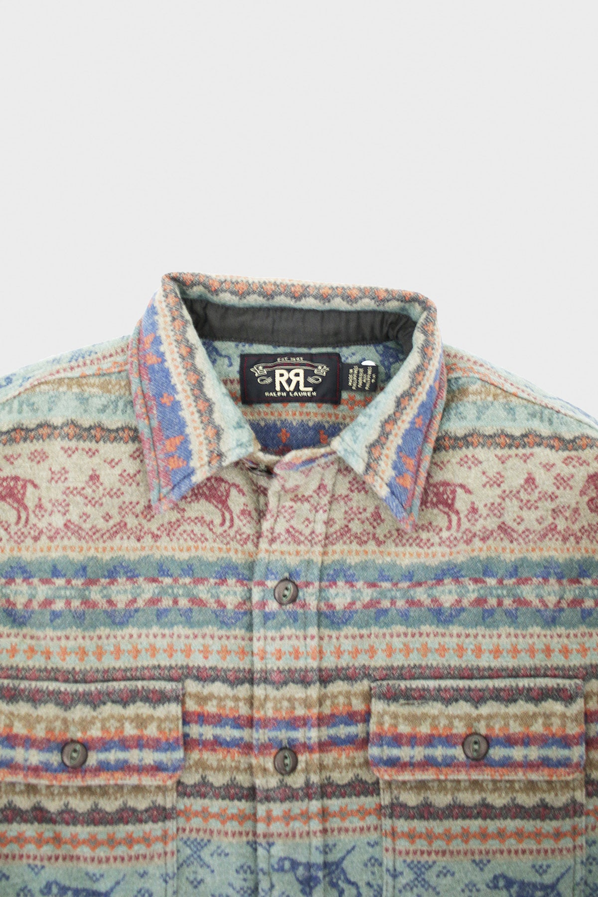 RRL - Fair Isle Jacquard Workshirt - Grey/Multi - Canoe Club