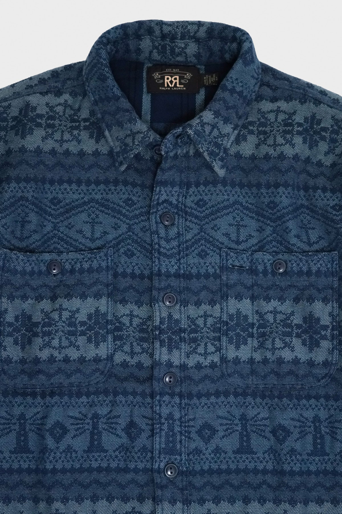 RRL - Fair Isle Jacquard Workshirt - Navy - Canoe Club