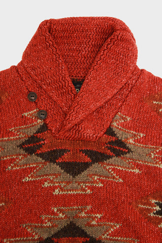rrl ralph lauren Linen-Blend Shawl Sweater - Faded Red