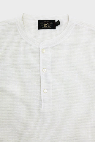 double r l Long Sleeve Waffle Henley - Paper White