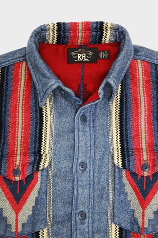 RRL Marvel Overshirt - Brushed Beacon Jacquard - Ran/Red