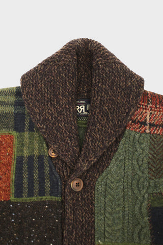 rrl Patchwork Wool Cardigan - Farm Olive
