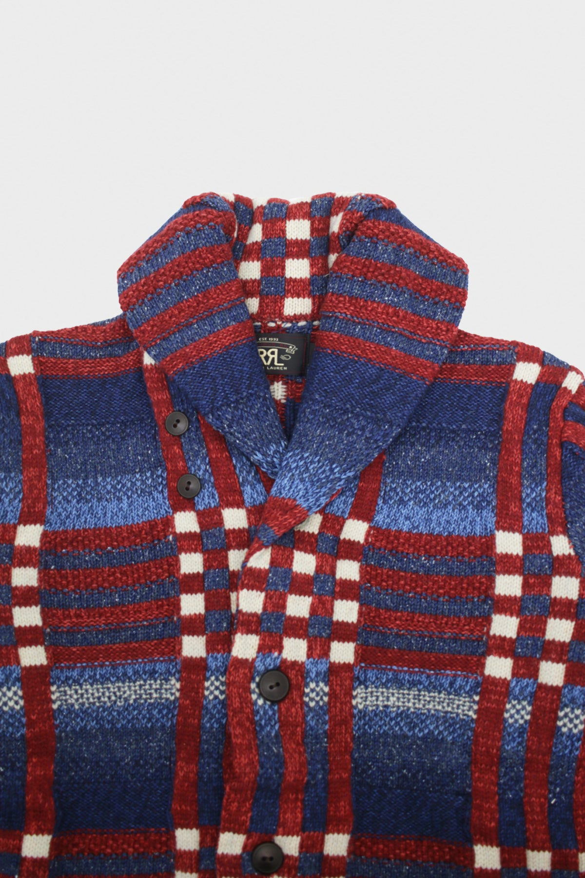 RRL - Plaid Shawl Collar Cardigan - Indigo/Red/Cream - Canoe Club