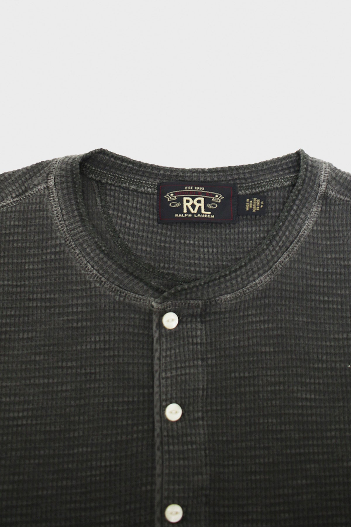 RRL - Short Sleeve Henley - Faded Black - Canoe Club