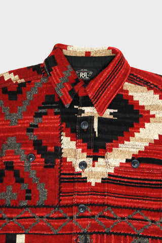 rrl ralph lauren Silk-Blend Workshirt Sweater - Red/Black/Charcoal