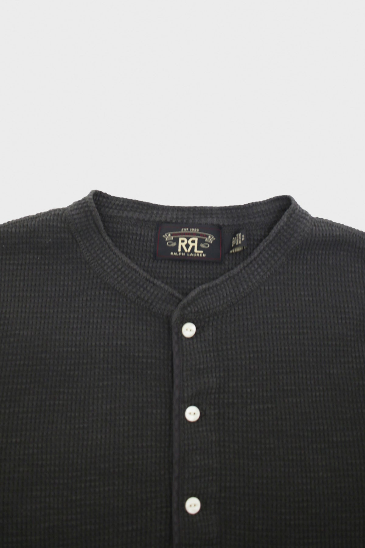 RRL - Waffle-Knit Henley Shirt - Faded Black - Canoe Club