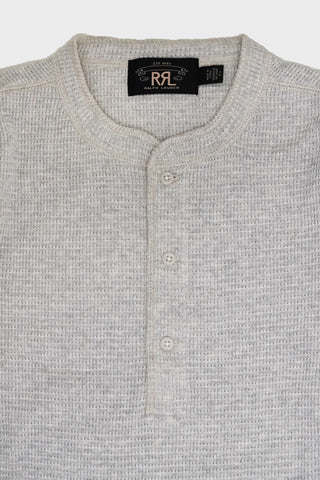 ralph lauren rrl Waffle-Knit Henley Shirt - Oat Heather