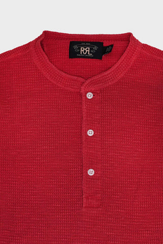 rrl Waffle-Knit Henley Shirt - Trading Post Red
