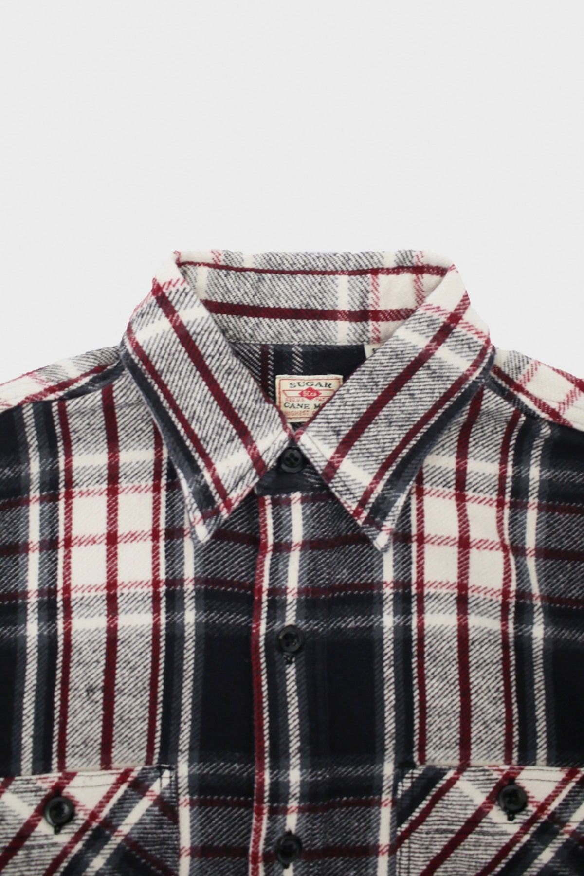 sugar cane Twill Check Work Shirt - Black