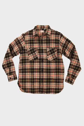 Twill Check Work Shirt - Brown
