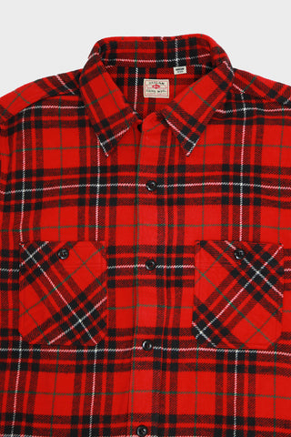 sugar cane and co Twill Check Work Shirt - Red II