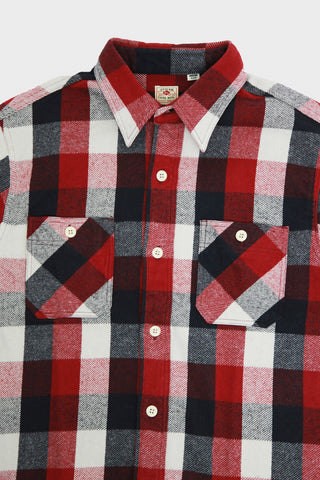sugar cane and co Twill Checked Work Shirt - Red III