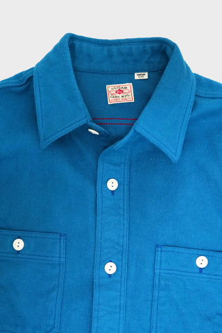 sugar cane clothing japan Twill Check Work Shirt - Solid Blue
