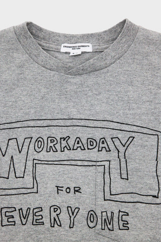 Workaday by Engineered garments Printed Crossover Neck Tee - Heather Grey