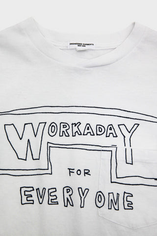 Workaday by Engineered garments Printed Crossover Neck Tee - White