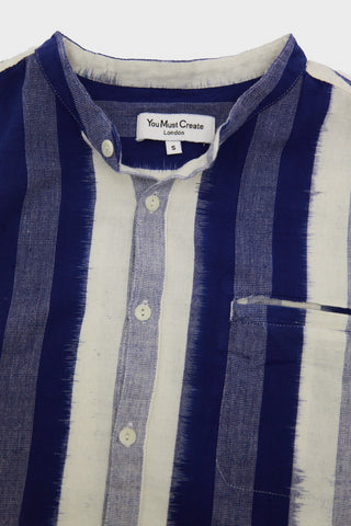 Beach Shirt - Blue Ikat Weave