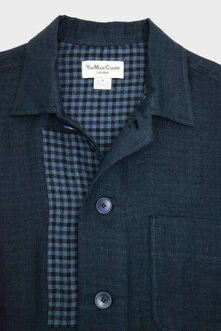 Linen Doublecloth Bloomsbury Jacket - Navy