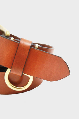 Stitched D-Ring Belt - Buck Brown
