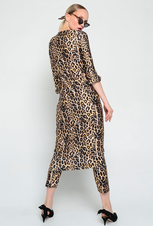 VESTIDO SIMPLE MANGAS LEOPARDO
