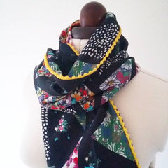 Cotton lawn pom pom scarf trypatch
