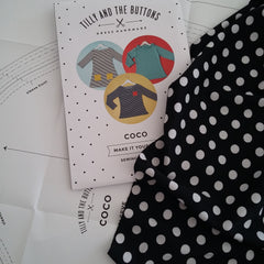 Planning for a second coco using some black and white polka do pnte roma fabric