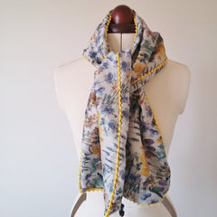 Cotton Lawn om Pom scarf jewel harvest