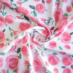 Lisa Comfort Cotton Lawn All the Roses - White Fabric - Cotton Reel Studio