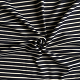Ponte Roma Jersey Navy Stripe Fabric - Cotton Reel Studio