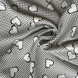 Viscose Crepe Black and White Hearts