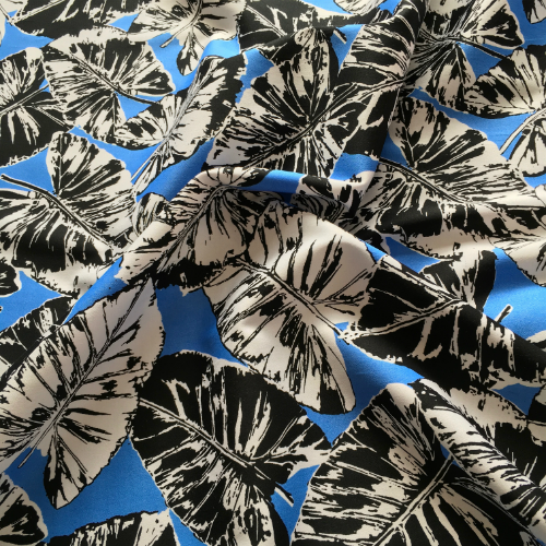 Stretch Cotton Banana Leaves Blue Fabric - Cotton Reel Studio