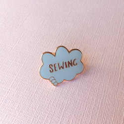Always Thinking About Sewing Enamel Pin  - Cotton Reel Studio