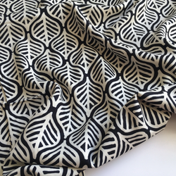 Viscose Cream and Black Leaves