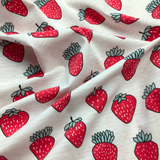 Organic Cotton Jersey Very Strawberry Fabric - Cotton Reel Studio