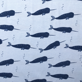 Organic Cotton Jersey Narwhal Sky Blue Fabric - Cotton Reel Studio