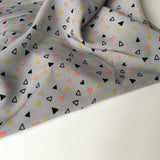 Peachskin Grey Triangles Fabric - Cotton Reel Studio