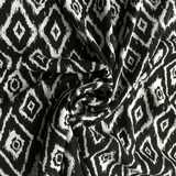 Viscose Black & White Ikat Fabric - Cotton Reel Studio