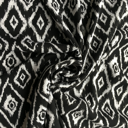 Viscose Black & White Ikat