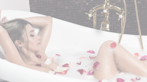 sexy girl in rose bubble bath