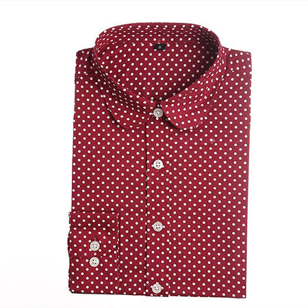 Plus Size Polka Cotton Women Long Sleeve Blouses