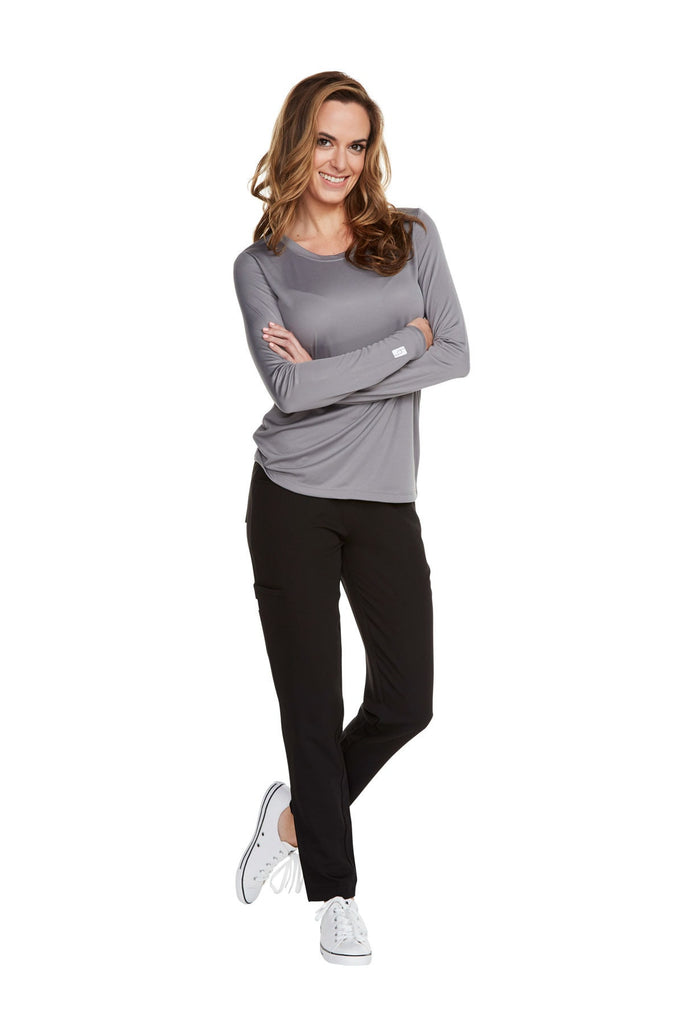 Women's Long Sleeve Antimicrobial Under Scrub Top - Charcoal Grey