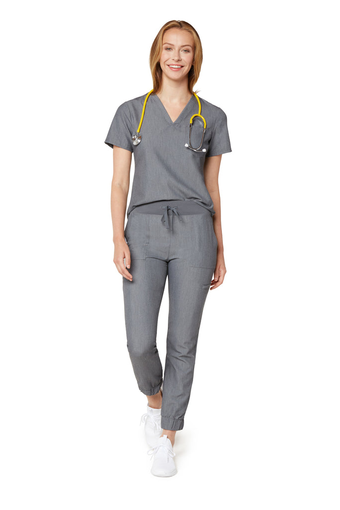 Women's One-Pocket Scrub Top - Graphite