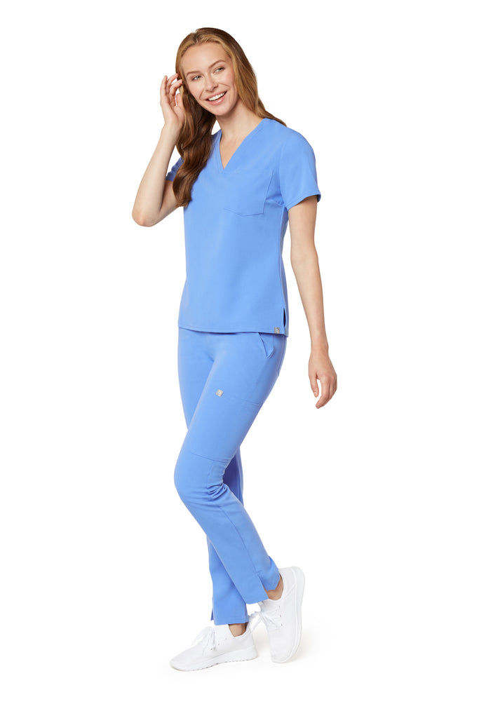 Women's One-Pocket Scrub Top - Ceil Blue